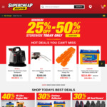 25 - 50% off RRP Sitewide @ Supercheap Auto (Saturday, Online & In-Store, Includes 25% off Special Orders)
