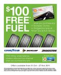 Buy 4x Bridgestone Tyres and Get $50/100 Gift Card + $100 Fuel Voucher