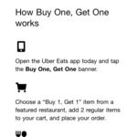 Buy 1 Selected Item & Get 1 Free @ Uber Eats (Selected Stores)