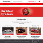 4th Tyre Free on Ecopia Tyres (or up to $100 Cashback on Alenza or Dueler Tyres) at Bridgestone