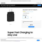 Samsung 25W Wall Charger $20.30 ($29 RRP) + Free Express Delivery @ Samsung AU