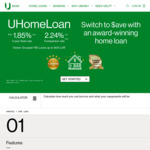 UBank 3yr Fixed Rate Home Loan (Owner Occupier) 1.85% (CR 2.24%)