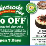 Cheesecake Shop $10 off Any Large Cake at Selected VIC/NSW Stores (See Links Below)