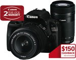 Canon 100D Twin Lenses 18-55mm & 55-250mm - $880 ($630 after Cash Back and Store Credit) @ TGG