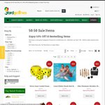 50:50 Sale at Yardgames.com.au. 50% off 50 Best Selling Games, Cubbies and Ride Ons