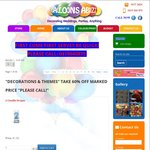 Party Decorations & Themes - 60% off Marked Prices @ Balloons Abuzz Perth Only