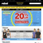 Minimum 20% off Sitewide @ Rebel (Online & Instore)