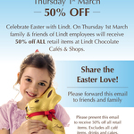 50% off ALL RETAIL Products @ Lindt Cafes and Shops (1 Day Only: 1/03/2018)