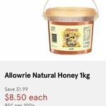 Allowrie All Natural Honey 1kg $8.50 @ VIC/NSW Supa IGA, WA IGA