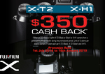 Get $350 Cashback on Fujifilm X-T2 and X-H1 Cameras