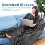 Microfibre Snuggle Blanket with Sleeves and Pocket,  $6 + Delivery (Free with Prime/ $49 Spend) @ LANGRIA Amazon Au