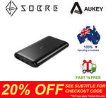 AUKEY 10000mAh USB-C Port Slim External Battery Power Bank Portable Charger $31.96 Delivered @ SOBRE eBay