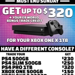 Console Trades: PS4 500GB $230, Xbox One 500GB $150, Nintendo Switch $270 @ EB Games