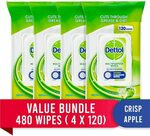 Dettol Multipurpose Antibacterial Surface Cleaning Wipes Crisp Apple, 480 Wipes (4x 120) $30 + Post ($0 Prime) @ Amazon AU