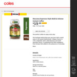 Moccona Espresso Style Bold & Intense Instant Coffee 400g $15 @ Coles