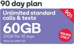 Kogan 90 Day Prepaid SIM 60GB (20GB Per 30 Days) $9.90 New Customers Only @ Kogan Mobile