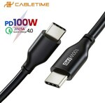 Cabletime USB-C to USB-C 100W PD Cable 0.5m US$3.29 (~A$4.48), 1m US$3.95 (~A$5.38) Delivered @ Cabletime Official AliExpress
