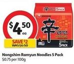 Nongshim Shin Ramyun 5 Pack $4.50   ½ Price Dolmio Pasta Sauce $1.75, SunRice Medium Grain 5kg $8, Weet-Bix 575g $1.90 @ Coles