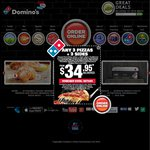 Domino's: Any 3 Pizzas + Oven Baked Chips + 1.25l Drink $23.95 Pick up $30.95 Delivered