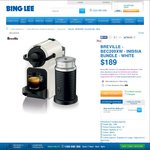 Breville Inissia Bundle Coffee Machine $124 Free Pickup after $50 & AmEx $15 Cash Back @ Bing Lee