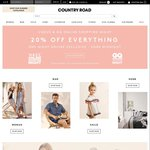 20% off Everything at Country Road until Midnight
