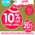 BIG W Staff, Family & Friends Offer - 10% off Store Wide, 20% off Glasses
