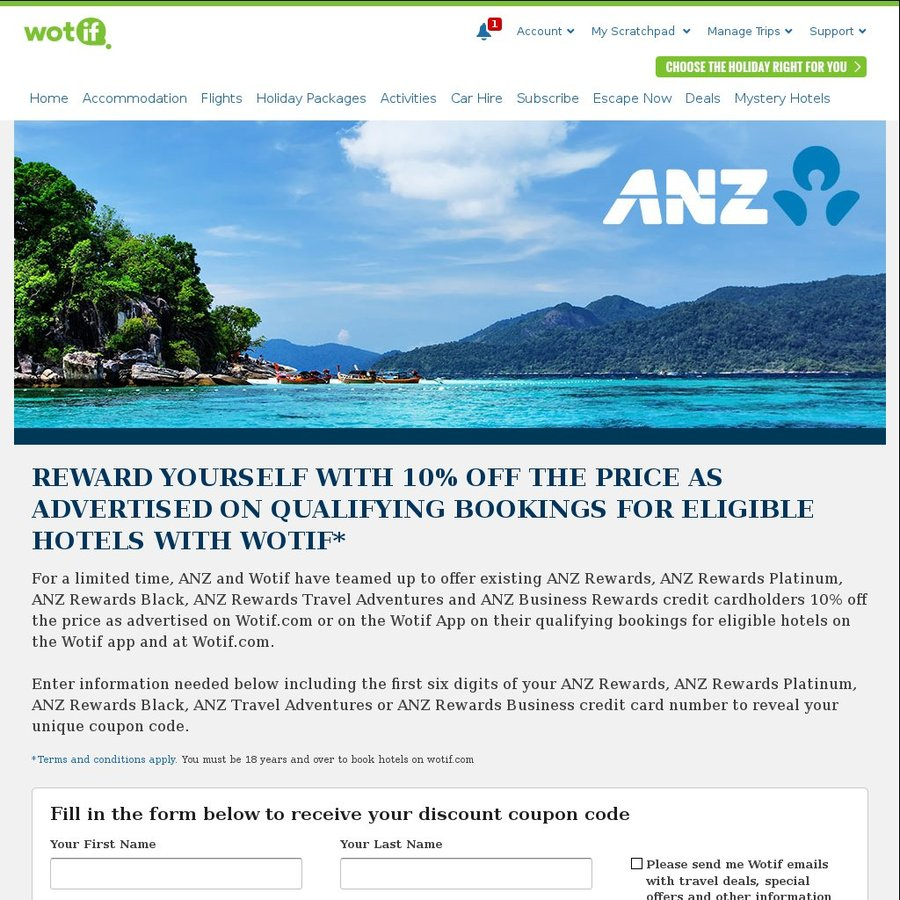 10% off WOTIF Hotels for All Eligible ANZ Rewards Credit Card ...