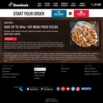 30% off Menu Price Pizzas Online @ Domino's [Exclusions Apply]
