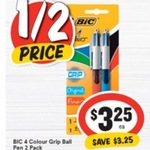 ½ Price: BIC 4-Colour Grip Ball Point Pen 2 Pack $3.25 @ IGA (or $3.09 OW PB)