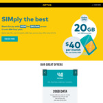 Optus 20GB Data for $40/Month SIM Only