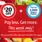 Coles Online - Spend $200 Get $20 off Plus 2000 Flybuys Points