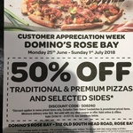 [NSW] ½ Price Traditional & Premium Pizza & Sides (Excludes Oven Baked Sandwiches, One Week Only) @ Domino's Rose Bay