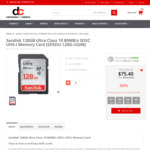 SanDisk 128GB Ultra Class 10 80MB/s SDXC UHS-I Memory Card $75.40 + Delivery @ Dirt Cheap Cameras