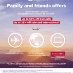 Virgin Australia Friends & Family Offer - up to 50% off Domestic & up to 25% off Selected International Flights