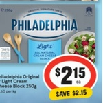 Philadelphia Cream Cheese Varieties 250g Block $2.15 @ IGA