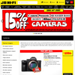 15% off Cameras (Exclusions Apply) @ JB HIFI