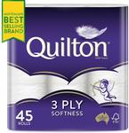 Quilton 3 Ply Toilet Tissue (180 Sheets Per Roll, 11x10cm) 45 Pack $17.50 + Delivery (Free with Prime/ $39 Spend) @ Amazon AU
