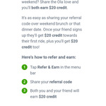 Double Referral Credit for New Users, $20 off First Ride This Weekend @ Ola