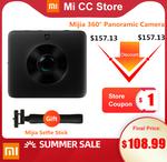 Xiaomi Mijia 4K 360 Panorama Camera + Xiaomi Mijia Selfie Stick US $108.79 (~AU $161.50) Delivered @ Mi CC Store AliExpress