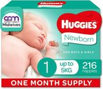 Huggies Ultimate Nappies 'Month Supply' Newborn 216 Count, Size 2 192 Count $48 Delivered ($43.20 S&S) @ Amazon AU