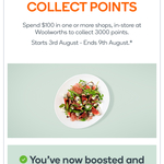 Earn 2000 ~ 6000 Points for $50~$150 Spend in One or More Shops @ Woolworths Rewards