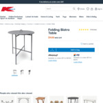 Folding Bistro Table $9 (Was $39) + Delivery /+ $3 Click & Collect / $0 in-Store @ Kmart