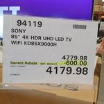 "Sony 85"" X9000H 4K UHD Bravia LED TV $4179.98 (RRP $4779.98) @ Costco Warehouse (Membership Required)"