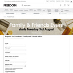 Family and Friends Offer: 25% off Full Priced Items (Pre-Registration) @ Freedom Furniture