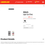 Abbots Lager 24x 375ml Cans $30 (Was $40) @ Liquorland & First Choice Liquor