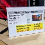"[WA, QLD, SA] Sony Bravia 75"" Google TV KD75X80J $1999 @ Costco (Membership Required)"