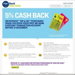 5% Cashback on PayPass Purchases @ ME Bank (New Customers Only)