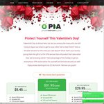 PrivateInternetAccess VPN Account 1 Year USD $31.95 1 Month USD $5.45 Save 20% Valentines Deal