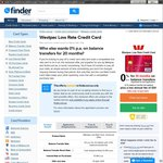 Exclusive to Finder.com.au: Westpac 55 Day Credit Card - 0% for 20 Mths on Balance Transfers