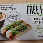 Free Food from Roll'd at the Melbourne Oracle Building, St Kilda Road - Today Only